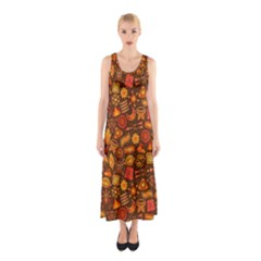 Pattern Background Ethnic Tribal Sleeveless Maxi Dress