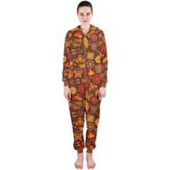 Pattern Background Ethnic Tribal Hooded Jumpsuit (Ladies)