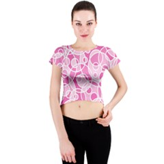 Pattern Crew Neck Crop Top