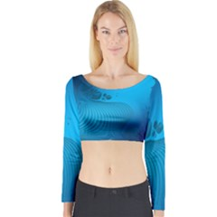 Fractals Lines Wave Pattern Long Sleeve Crop Top