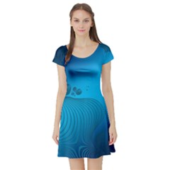 Fractals Lines Wave Pattern Short Sleeve Skater Dress