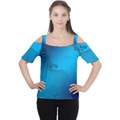 Fractals Lines Wave Pattern Women s Cutout Shoulder Tee