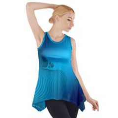 Fractals Lines Wave Pattern Side Drop Tank Tunic