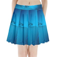 Fractals Lines Wave Pattern Pleated Mini Skirt