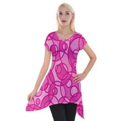 Pattern Short Sleeve Side Drop Tunic