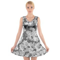 Camouflage Patterns  V-Neck Sleeveless Skater Dress
