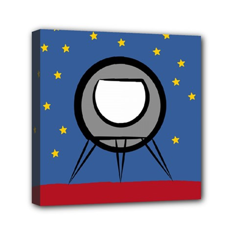 A Rocket Ship Sits On A Red Planet With Gold Stars In The Background Mini Canvas 6  X 6
