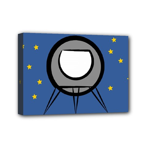A Rocket Ship Sits On A Red Planet With Gold Stars In The Background Mini Canvas 7  X 5