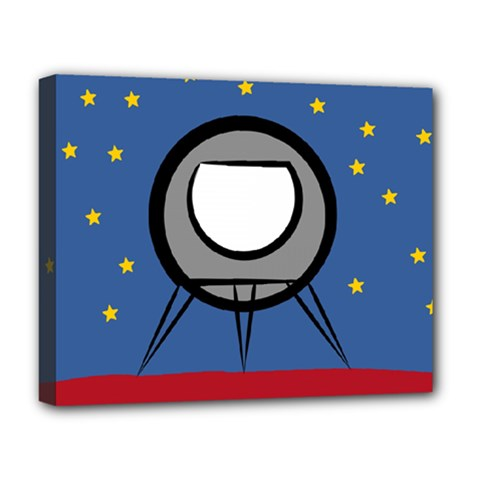 A Rocket Ship Sits On A Red Planet With Gold Stars In The Background Deluxe Canvas 20  X 16