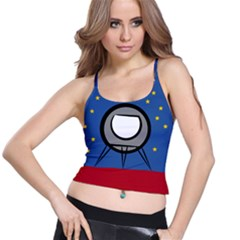 A Rocket Ship Sits On A Red Planet With Gold Stars In The Background Spaghetti Strap Bra Top
