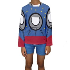A Rocket Ship Sits On A Red Planet With Gold Stars In The Background Kids  Long Sleeve Swimwear