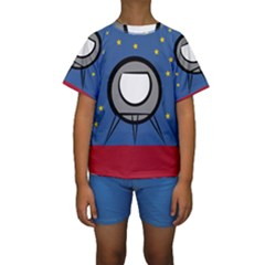 A Rocket Ship Sits On A Red Planet With Gold Stars In The Background Kids  Short Sleeve Swimwear