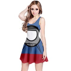 A Rocket Ship Sits On A Red Planet With Gold Stars In The Background Reversible Sleeveless Dress