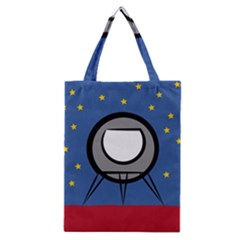 A Rocket Ship Sits On A Red Planet With Gold Stars In The Background Classic Tote Bag