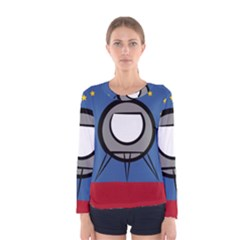 A Rocket Ship Sits On A Red Planet With Gold Stars In The Background Women s Long Sleeve Tee