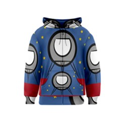 A Rocket Ship Sits On A Red Planet With Gold Stars In The Background Kids  Zipper Hoodie