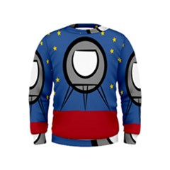 A Rocket Ship Sits On A Red Planet With Gold Stars In The Background Kids  Sweatshirt