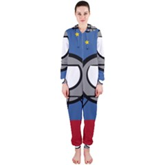A Rocket Ship Sits On A Red Planet With Gold Stars In The Background Hooded Jumpsuit (ladies)