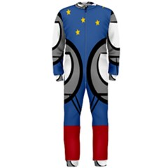 A Rocket Ship Sits On A Red Planet With Gold Stars In The Background Onepiece Jumpsuit (men)