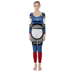 A Rocket Ship Sits On A Red Planet With Gold Stars In The Background Long Sleeve Catsuit