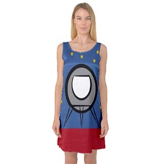 A Rocket Ship Sits On A Red Planet With Gold Stars In The Background Sleeveless Satin Nightdress
