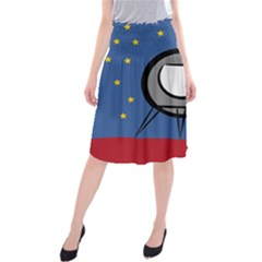 A Rocket Ship Sits On A Red Planet With Gold Stars In The Background Midi Beach Skirt