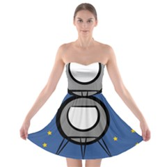A Rocket Ship Sits On A Red Planet With Gold Stars In The Background Strapless Bra Top Dress