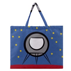 A Rocket Ship Sits On A Red Planet With Gold Stars In The Background Zipper Large Tote Bag