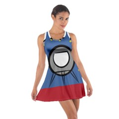 A Rocket Ship Sits On A Red Planet With Gold Stars In The Background Cotton Racerback Dress