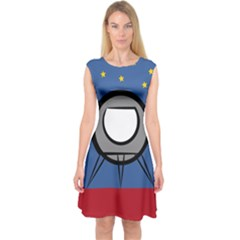 A Rocket Ship Sits On A Red Planet With Gold Stars In The Background Capsleeve Midi Dress