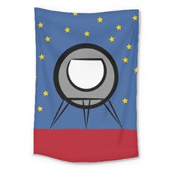 A Rocket Ship Sits On A Red Planet With Gold Stars In The Background Large Tapestry