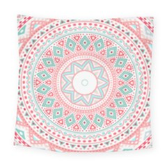 Pattern Tribal Blue Pink Square Tapestry (large)