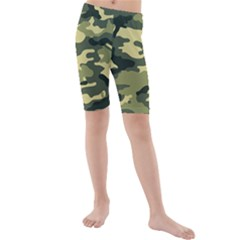 Camouflage Camo Pattern Kids  Mid Length Swim Shorts