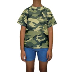 Camouflage Camo Pattern Kids  Short Sleeve Swimwear