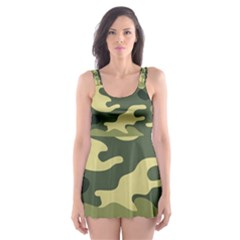 Camouflage Camo Pattern Skater Dress Swimsuit