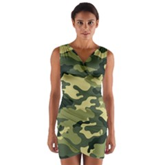 Camouflage Camo Pattern Wrap Front Bodycon Dress