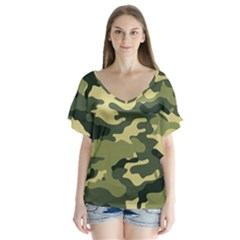 Camouflage Camo Pattern Flutter Sleeve Top