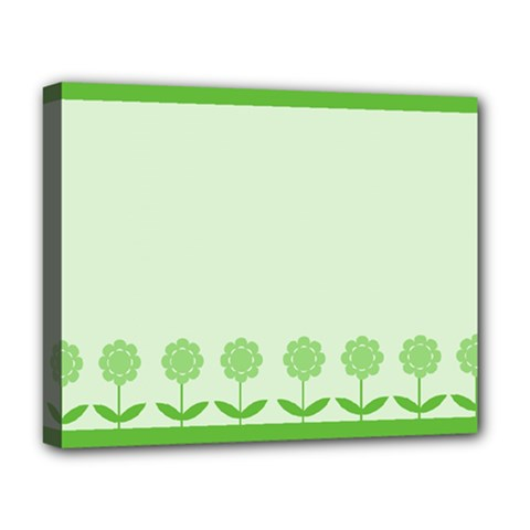 Floral Stripes Card In Green Deluxe Canvas 20  x 16