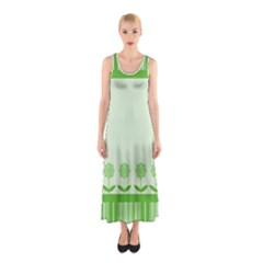 Floral Stripes Card In Green Sleeveless Maxi Dress