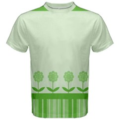 Floral Stripes Card In Green Men s Cotton Tee