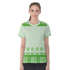 Floral Stripes Card In Green Women s Cotton Tee