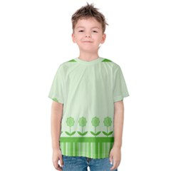Floral Stripes Card In Green Kids  Cotton Tee