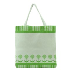 Floral Stripes Card In Green Grocery Tote Bag