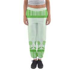 Floral Stripes Card In Green Women s Jogger Sweatpants