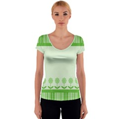 Floral Stripes Card In Green Women s V-Neck Cap Sleeve Top