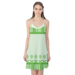 Floral Stripes Card In Green Camis Nightgown