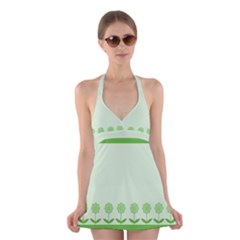 Floral Stripes Card In Green Halter Swimsuit Dress