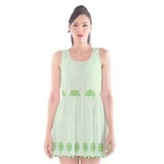 Floral Stripes Card In Green Scoop Neck Skater Dress
