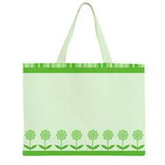 Floral Stripes Card In Green Large Tote Bag
