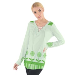 Floral Stripes Card In Green Women s Tie Up Tee